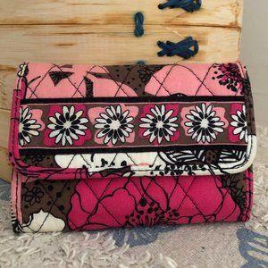 Vera Bradley Mocha Rouge Tri Fold Wallet